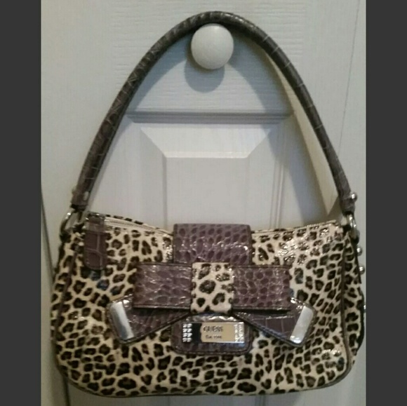 Guess Handbags - Guess Croco Animal Print Patent Hobo Handbag